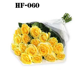 18 Roses - Yellow - Wrapped in Cello in Fairfield CT, Hansen's Flower Shop and Greenhouse