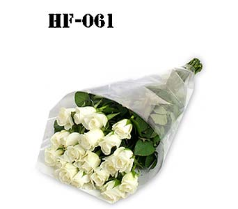 18 Roses - White - Wrapped in Cello in Fairfield CT, Hansen's Flower Shop and Greenhouse