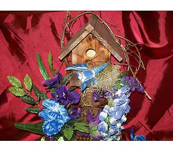 Birdhouse in Blue in Dry Ridge KY, Ivy Leaf Florist