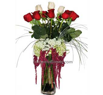 Red & White Unity Rose Flower Bouquet in Santa Monica CA, Edelweiss Flower Boutique