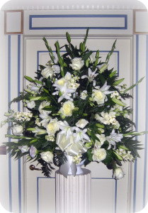 White Urn Arrangement in Staten Island NY, Kitty's and Family Florist Inc.