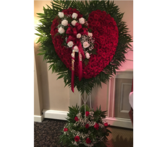 White Rose Heart with Break in Staten Island NY, Kitty's and Family Florist Inc.