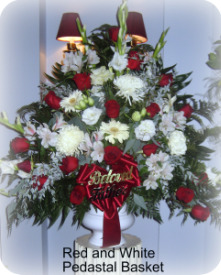 Red and White Urn Arrangement in Staten Island NY, Kitty's and Family Florist Inc.