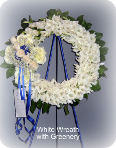 White Greenery Wreath in Staten Island NY, Kitty's and Family Florist Inc.