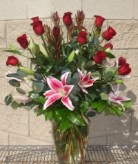 Red Roses and Star Gazers in Tempe AZ, Bobbie's Flowers