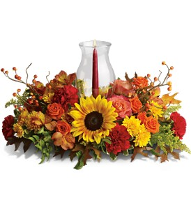 Delight-fall Centerpiece in Bakersfield CA, White Oaks Florist