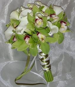 White and Green Orchid Bouquet in Cerritos CA, The White Lotus Florist