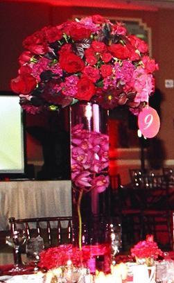 Tall Red Centerpieces With Orchids in Cerritos CA, The White Lotus Florist