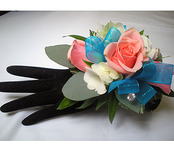 Tangy Turquoise Wrist Corsage in Detroit and St. Clair Shores MI, Conner Park Florist