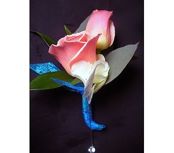 Tangy Turquoise Matching Boutonniere in Detroit and St. Clair Shores MI, Conner Park Florist