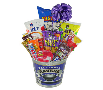 Ravens Bucket of Snacks in Baltimore MD, Raimondi's Flowers & Fruit Baskets
