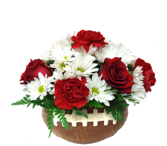 Football Basket Bouquet in School Colors in Birmingham AL, Norton's Florist