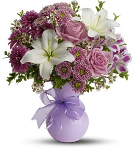 Teleflora's Precious in Purple in McHenry IL, Locker's Flowers, Greenhouse & Gifts