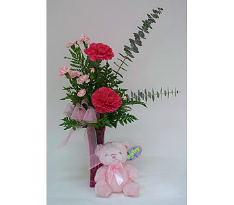 Sweet Pink w/Bear in Indianapolis IN, Gillespie Florists