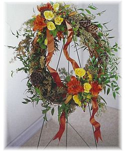Autumn Grapevine Wreath in Eugene OR, Dandelions Flowers