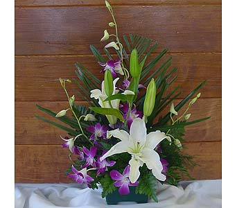 WHITE ORIENTAL LILY AND ORCHIDS in Anchorage AK, Alaska Flower Shop