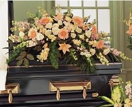 Peach Half-Couch Casket Spray in Eugene OR, Dandelions Flowers