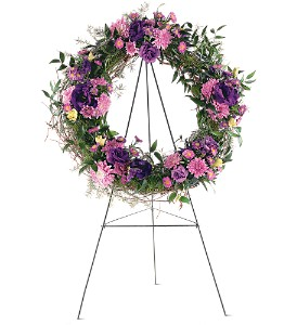 Purple Grapevine Wreath in Eugene OR, Dandelions Flowers