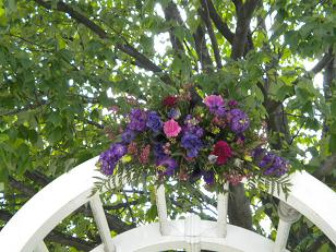 Purple archway close up in Bensenville IL, The Village Flower Shop