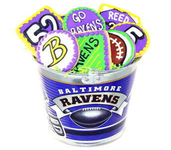 Ravens Bucket of Large Ravens Cookies in Baltimore MD, Raimondi's Flowers & Fruit Baskets