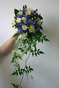 Blue Delphiniums and Roses in Guelph ON, Patti's Flower Boutique