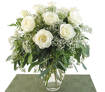 Deluxe White Roses Vased in Southfield MI, Thrifty Florist