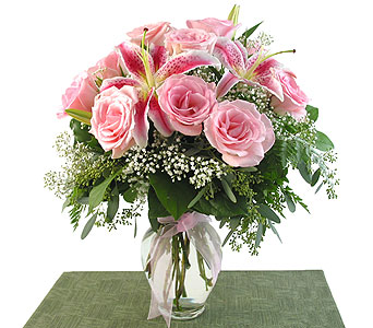 Pink Roses and Star Gazer Lilies in Southfield MI, Thrifty Florist