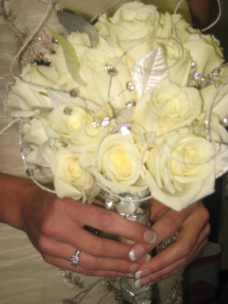 White Rose Round Bouquet in Knoxville TN, The Flower Pot