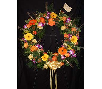 Circle Wreath Mixed - Standing Easel Spray in Dallas TX, Z's Florist