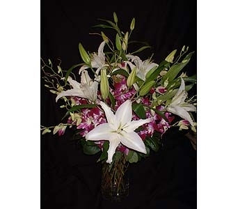 White Lilies & Purple Orchids in Dallas TX, Z's Florist