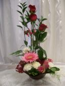Red Glass Centerpiece in Fairfax VA, Exotica Florist, Inc.