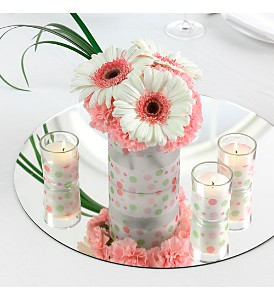 Pink Polka Dot Centerpiece in Eugene OR, Dandelions Flowers
