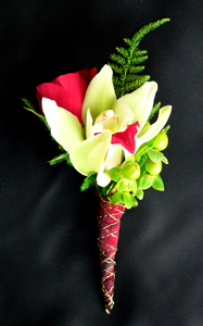 Cymbidium and Rose bud Boutonniere in Portland ME, Dodge The Florist