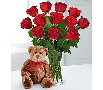 Cuddles & Kisses Valentine Rose Bouquet & Bear in Baltimore MD, Gordon Florist