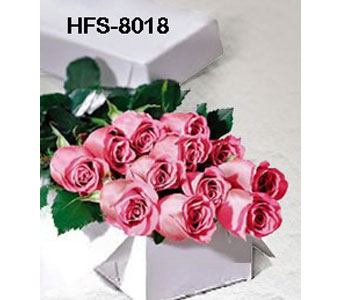 12 pink long stem roses boxed in Norwalk CT, Bruce's Flowers & Greenhouses