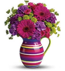 Teleflora's Rainbow Pitcher Bouquet in Oklahoma City OK, Array of Flowers & Gifts
