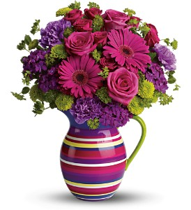 Teleflora's Rainbow Pitcher Bouquet - Deluxe in Orlando FL, University Floral & Gift Shoppe