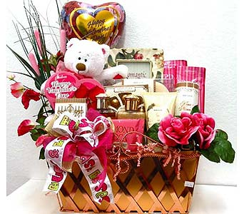 GB305 ''Pink and Lime Hugs & Kisses'' Gift Basket in Oklahoma City OK, Array of Flowers & Gifts