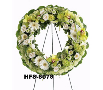 Green Orchid Wreath in Fairfield CT, Hansen's Flower Shop and Greenhouse