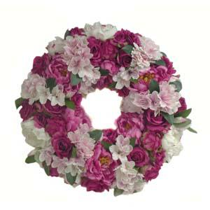 Silk Peony Wreath in Drexel Hill PA, Farrell's Florist