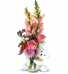 Teleflora's Bear Hug Bear with Pink Roses in Mount Morris MI, June's Floral Company & Fruit Bouquets