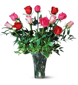 A Dozen Multi-Colored Roses in Dallas TX, Petals & Stems Florist