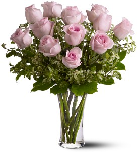 A Dozen Pink Roses in Islandia NY, Gina's Enchanted Flower Shoppe