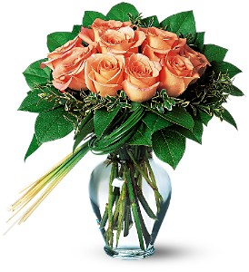 Perfectly Peachy Roses in Wantagh NY, Numa's Florist