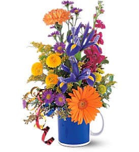 Cheerful Flowers in a Mug in Warwick RI, Yard Works Floral, Gift & Garden