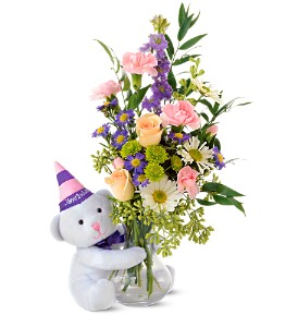 Teleflora's Party Bear in Portage MI, Polderman's Flower Shop, Greenhouse & Garden