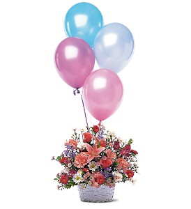 Birthday Balloon Basket in Boston MA, Exotic Flowers