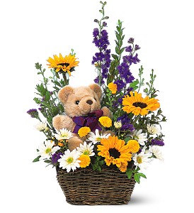 Basket & Bear Arrangement in Modesto, Riverbank & Salida CA, Rose Garden Florist