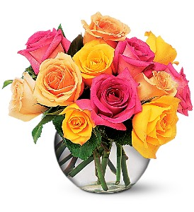 Multi-Colored Roses in Peoria IL, Flowers & Friends Florist