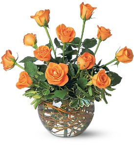A Dozen Orange Roses in Bakersfield CA, White Oaks Florist